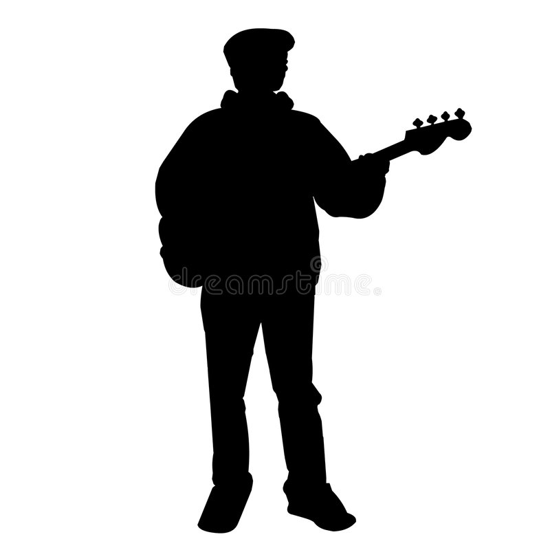 Teen Bass Player - Silhouette royalty free stock photography