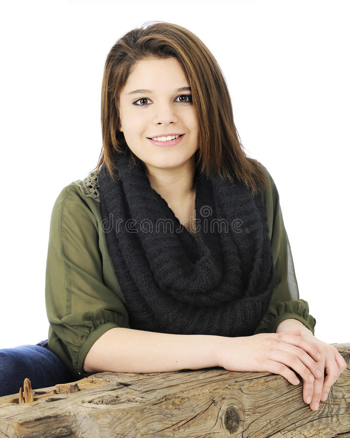 Download Teen Beauty Leaning On A Beam Stock Image - Image: 36731195