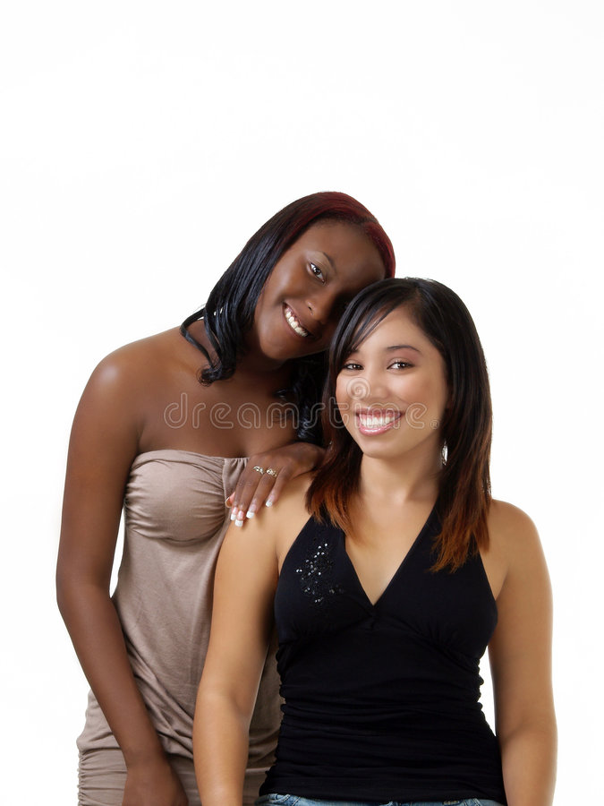 Teen Black And Hispanic Girls Double Portrait Royalty Free