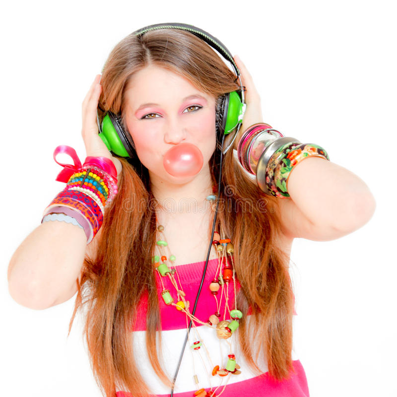 Free Teen Blowing Gum Listening Music Royalty Free Stock Image - 18044056