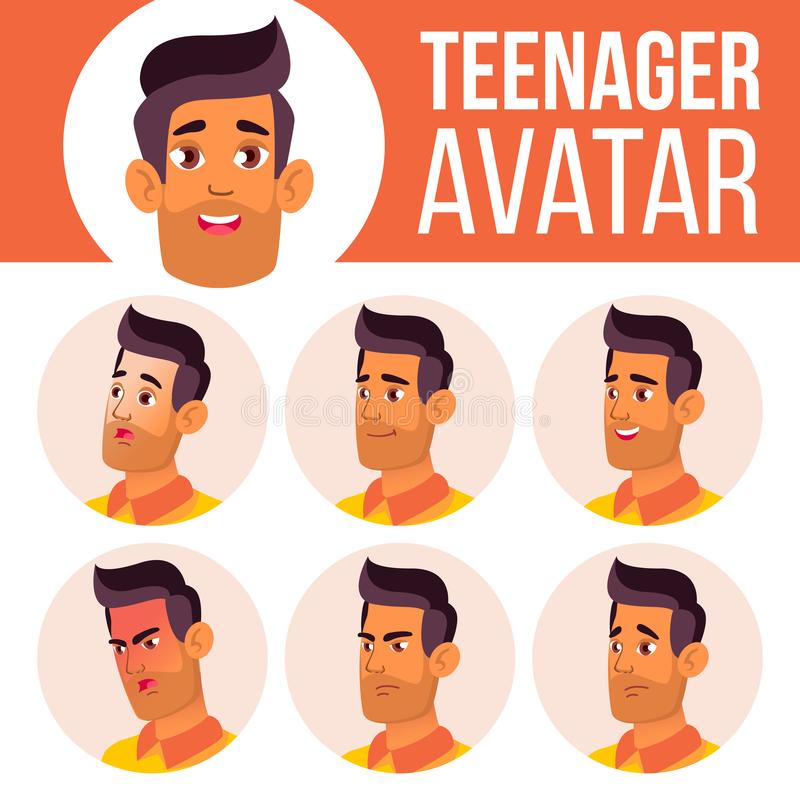 Teen Boy Avatar Set Vector. Arab, Muslim. Face Emotions. Child. Friendly. Cartoon Head Illustration. Teen Boy Avatar Set Vector. Arab, Muslim. Face Emotions vector illustration