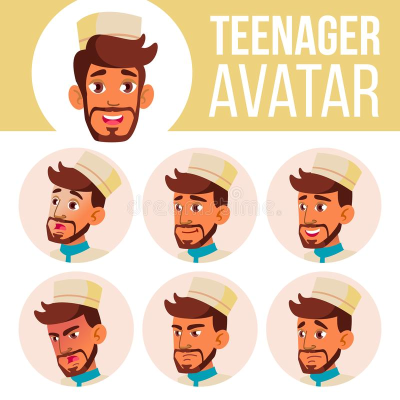 Teen Boy Avatar Set Vector. Arab, Muslim. Face Emotions. User, Character. Cheer, Pretty. Cartoon Head Illustration. Teen Boy Avatar Set Vector. Arab, Muslim vector illustration
