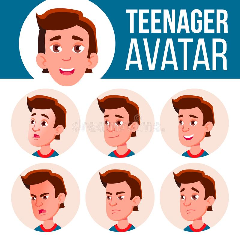 Teen Boy Avatar Set Vector. Face Emotions. Facial, People. Active, Joy. Cartoon Head Illustration. Teen Boy Avatar Set Vector. Face Emotions. Facial, People stock illustration