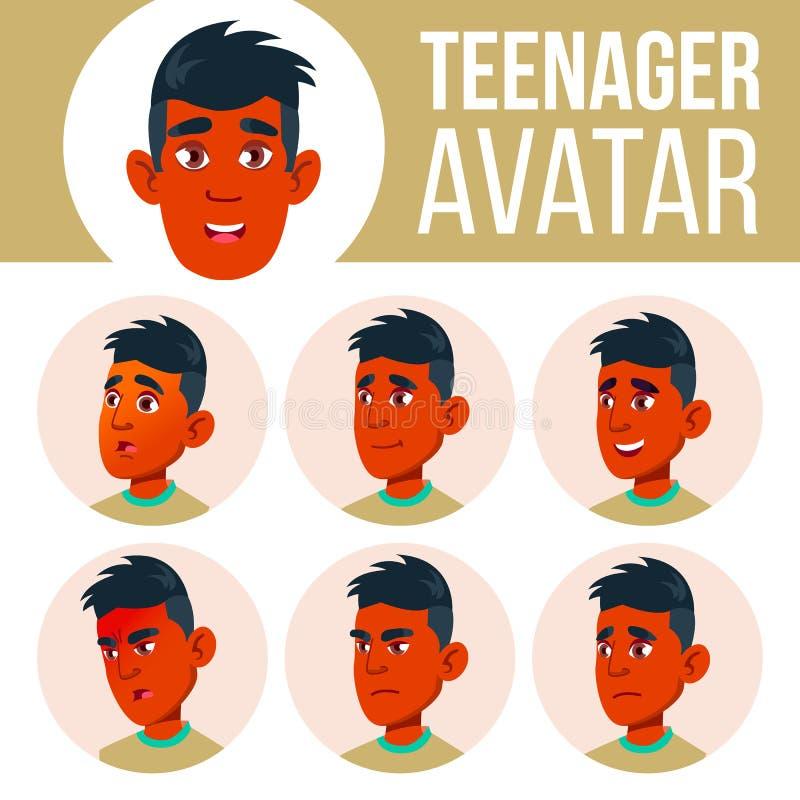 Teen Boy Avatar Set Vector. Indian, Hindu. Asian. Face Emotions. Children, Young People. Life, Emotional. Cartoon Head stock illustration