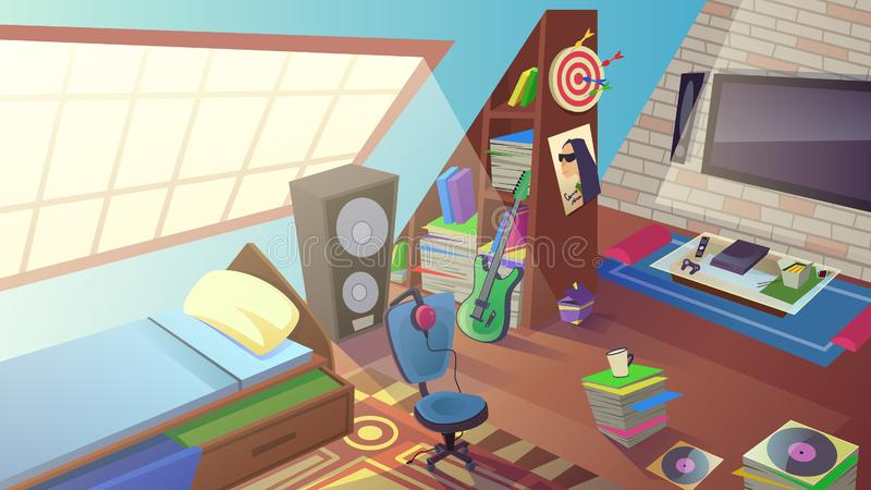 Teen Boy Bedroom Interior in Day Time. Room Inside. Teenager Room at Daytime with Large Window, Bed, TV, Play Station, Electric Guitar, Headset, Big Musical stock illustration