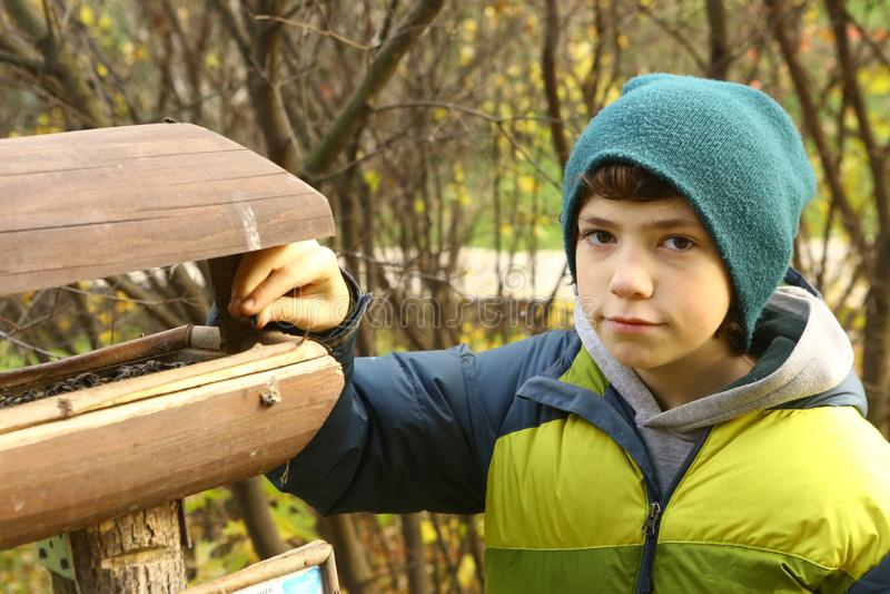 Teen boy beside bird feeder. Teen boy in knitted hat and dawn jacket beside bird feeder in autumn city park stock photo