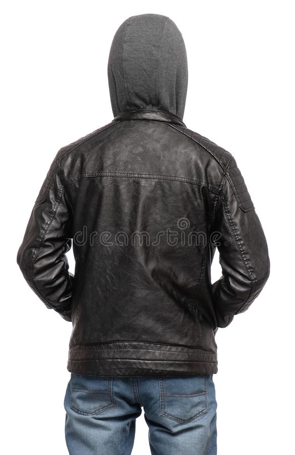 Teen boy in black leather jacket stock photos