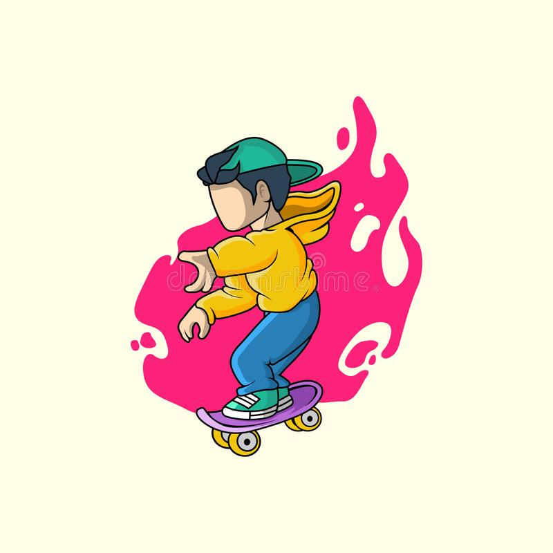 Teen boy in cap and riding on skateboard. character vector illustration