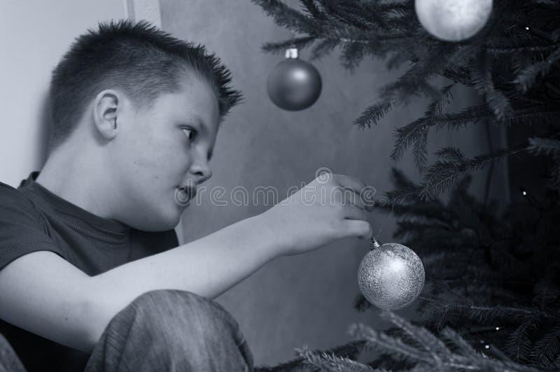 Teen Boy Decorating Christmas Tree Royalty Free Stock Photo