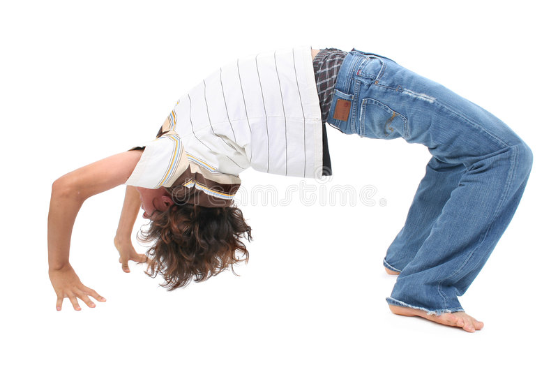 Teen Boy doing Backbend stock photo