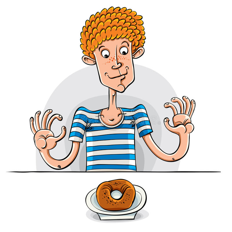 Teen boy with donut. Teen boy with donut, vector illustration vector illustration