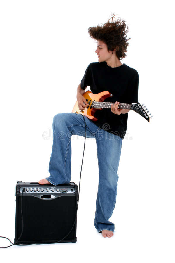 Teen Boy with Electric stock photo