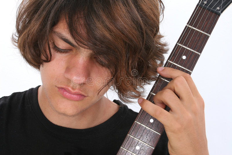 Teen Boy with Electric Guitar stock photo