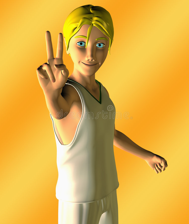 Teen Boy Giving A V For Victory Sign