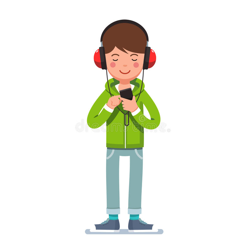 Teen boy in headphones listening to music on phone. Teen boy in headphones listening to music on mobile phone. Man wearing hoodie, jeans and kids standing and vector illustration