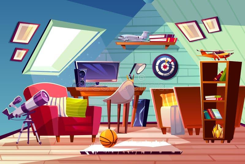 Teen boy kid room at garret attic vector interior vector illustration