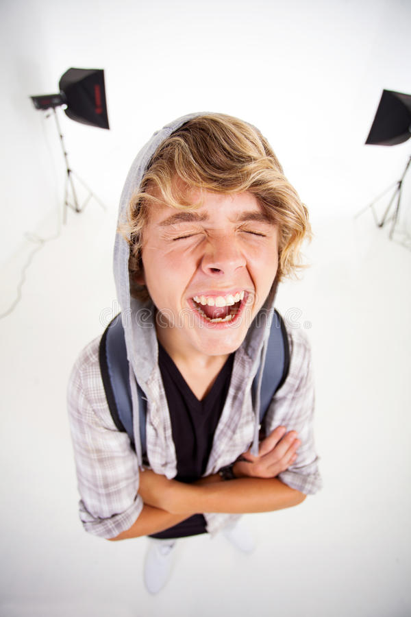 Download Teen boy laughing stock image. Image of cheerful, isolated - 29698539