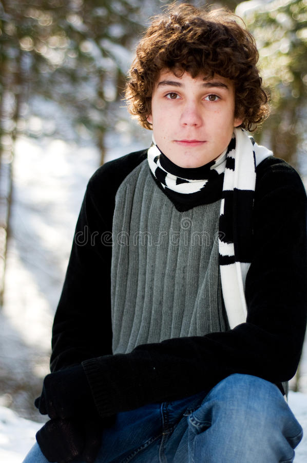 Download Teen Boy Outdoors In Winter Stock Photo - Image: 17716478