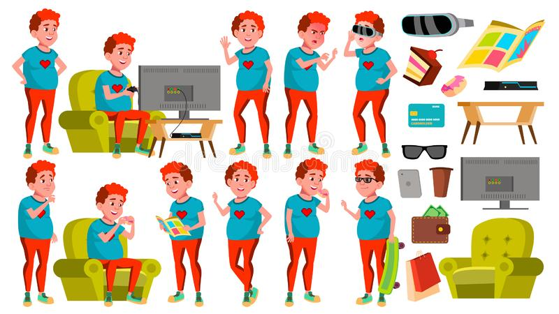 Teen Boy Poses Set Vector. Red Head. Fat Gamer. Fun, Cheerful. For Web, Poster, Booklet Design. Isolated Cartoon. Teen Boy Poses Set Vector. Red Head. Fat Gamer stock illustration