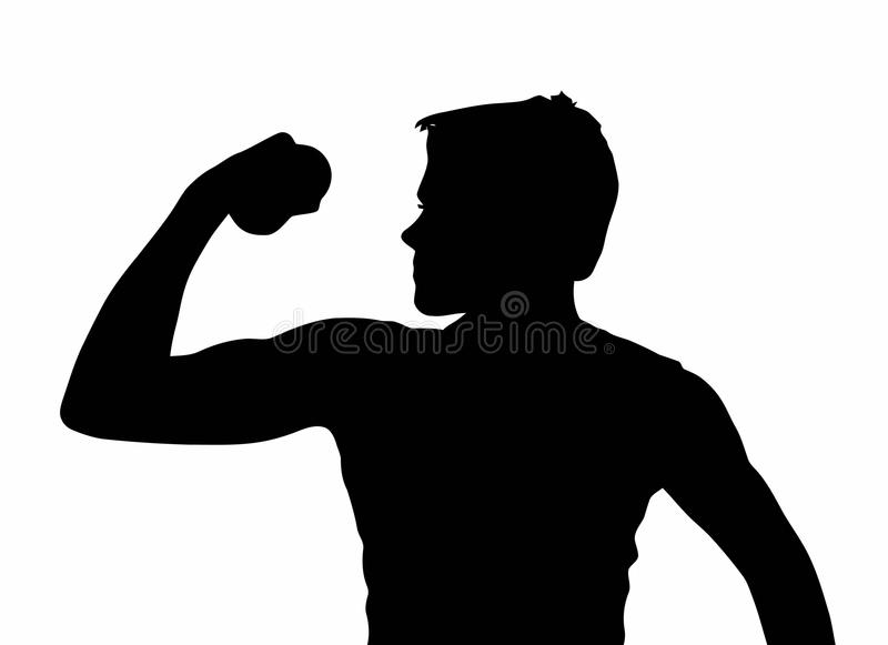 Download Teen Boy Silhouette Exercising Muscles Stock Vector - Illustration of gesture, exercise: 39881018
