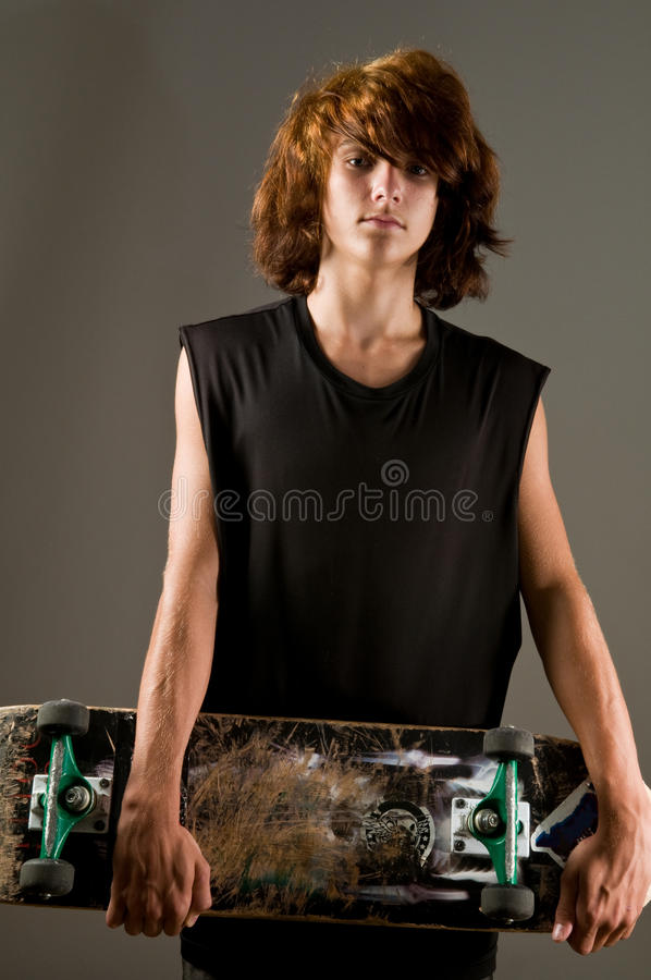Teen Boy With Skateboard Stock Image Image Of Male, Black -9868