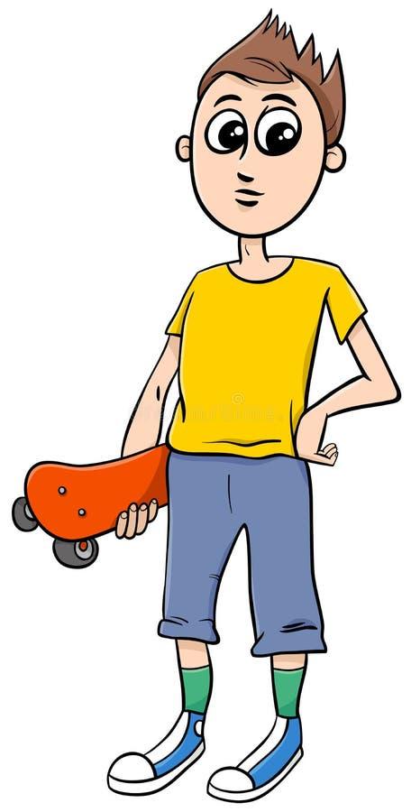 Teen boy with skateboard cartoon. Cartoon Illustration of Teen Boy with Skateboard royalty free illustration