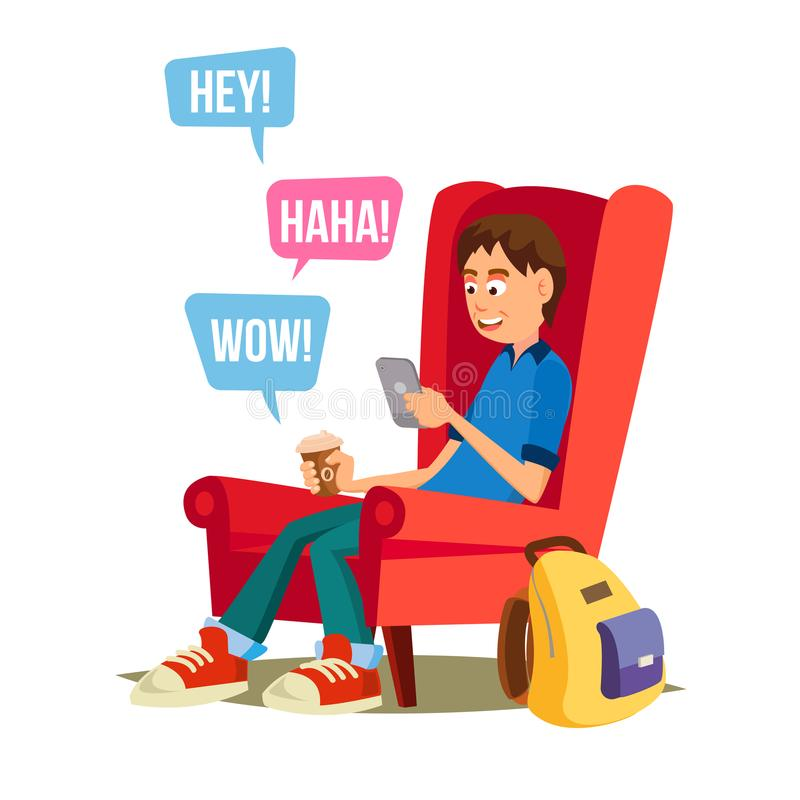 Teen Boy Vector. Happy Boy Communicate On Internet. Using Smartphone. Isolated On White Cartoon Character Illustration. Teen Boy Vector. Young Teen Boy Smiling stock illustration