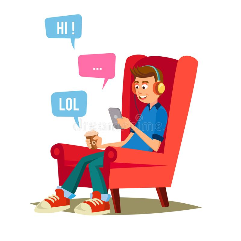 Teen Boy Vector. Happy Boy Talking, Chatting On Network. Devices And Social Media Addiction. Flat Cartoon royalty free illustration