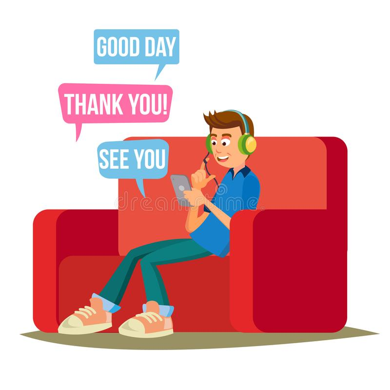 Teen Boy Vector. Teen Boy Texting With Cell Phone. Smart Phone Chatting Addiction. Cartoon Character Illustration. Teen Boy Vector. Happy Boy Communicate On stock illustration