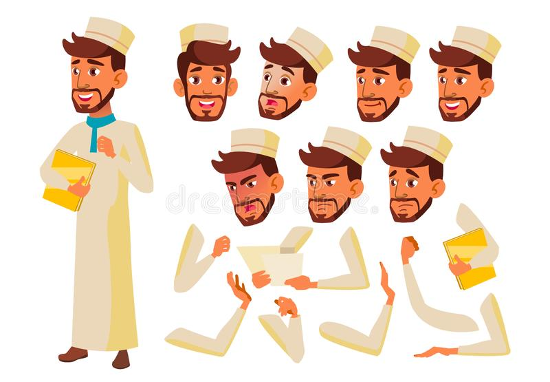 Teen Boy Vector. Teenager. Arab, Muslim. Activity, Beautiful. Face Emotions, Various Gestures. Animation Creation Set. Isolated Flat Cartoon Illustration vector illustration