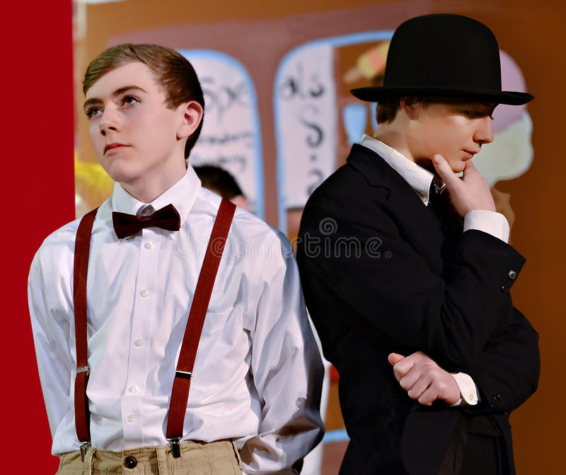 Teen Boys in a School Play stock images