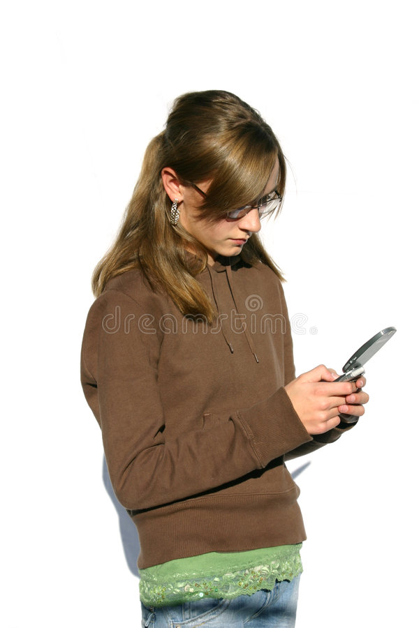 Teen breaking up over a text message stock photos