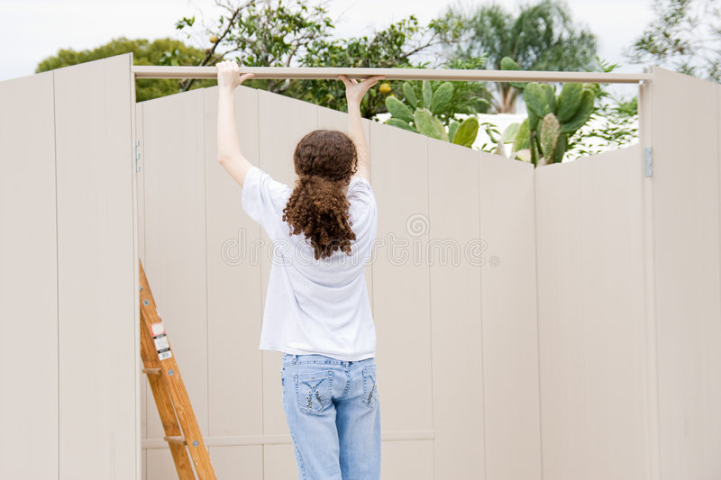 Download Teen Builds Shed stock image. Image of wall, aluminum - 4358123
