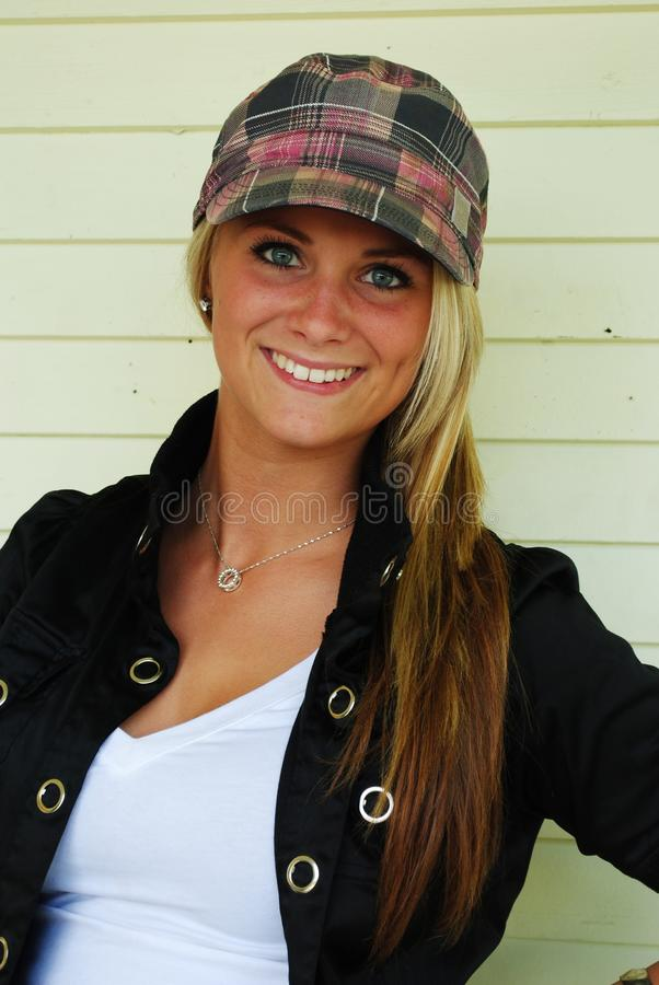 Teen in cap stock photo