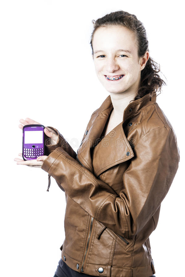 Download Teen with cellphone stock photo. Image of leather, smiling - 25505514