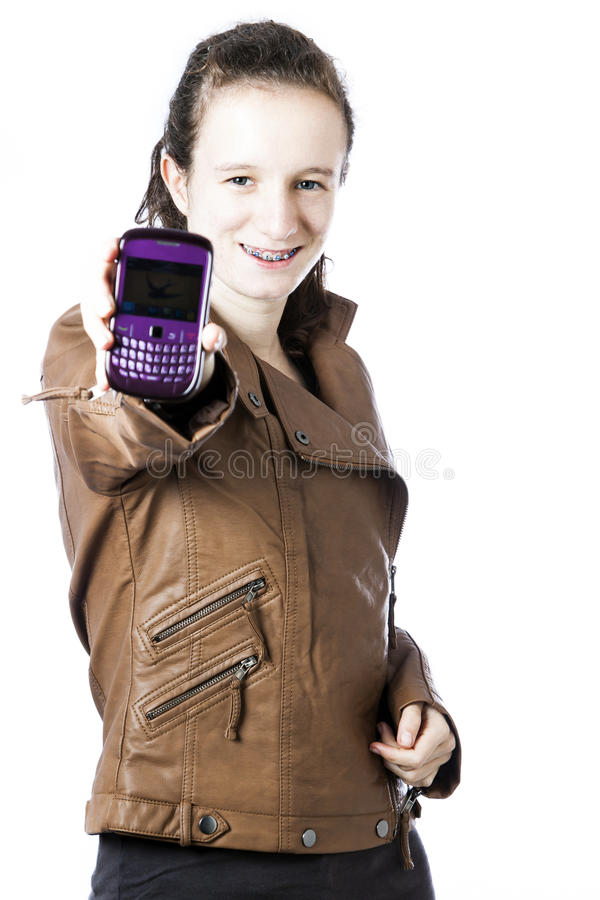 Download Teen with cellphone stock photo. Image of jacket, smiling - 25505526