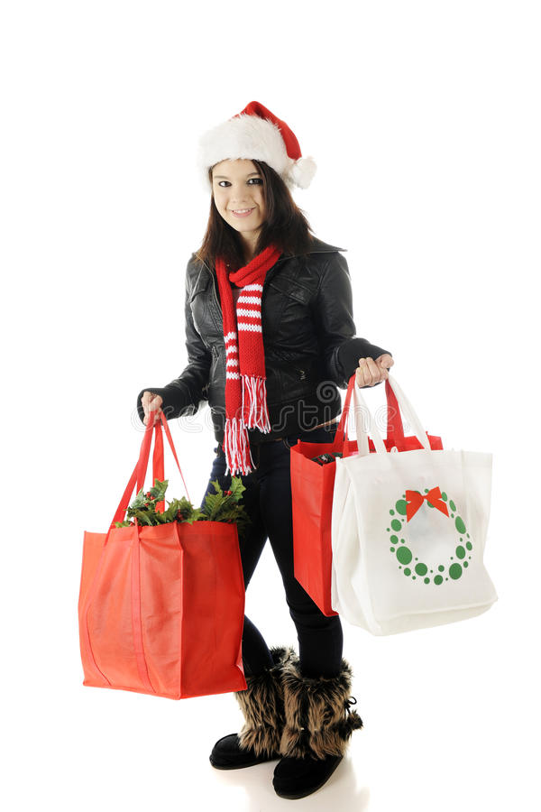 Download Teen Christmas Shopper stock photo. Image of xmas, happy - 27229416