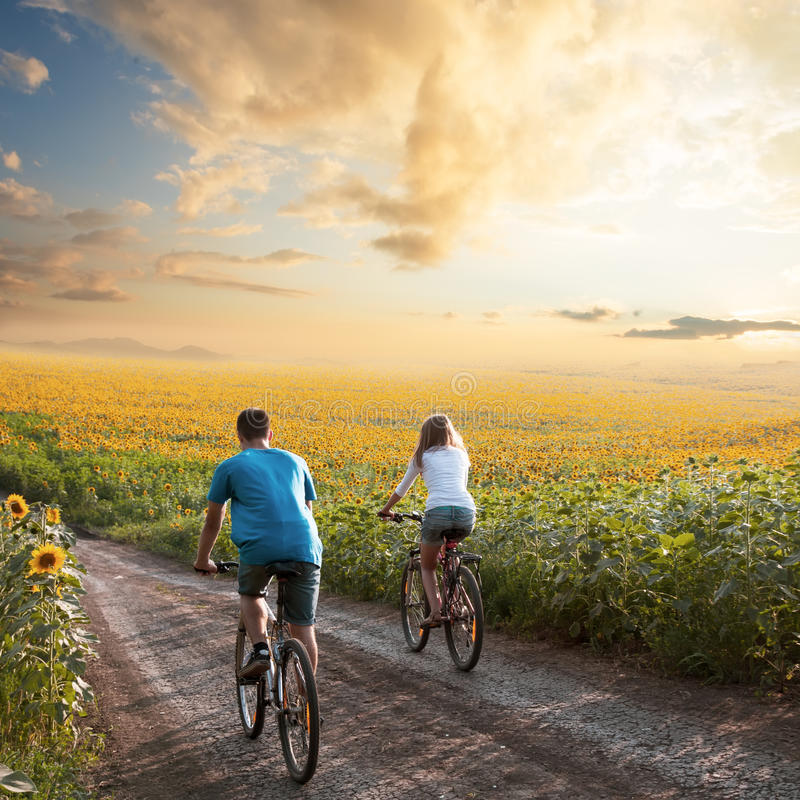 Teen couple riding bike in sunflower field. Two happy teen cyclist in sunflower field riding bicycle. Healthy lifestyle concept stock image
