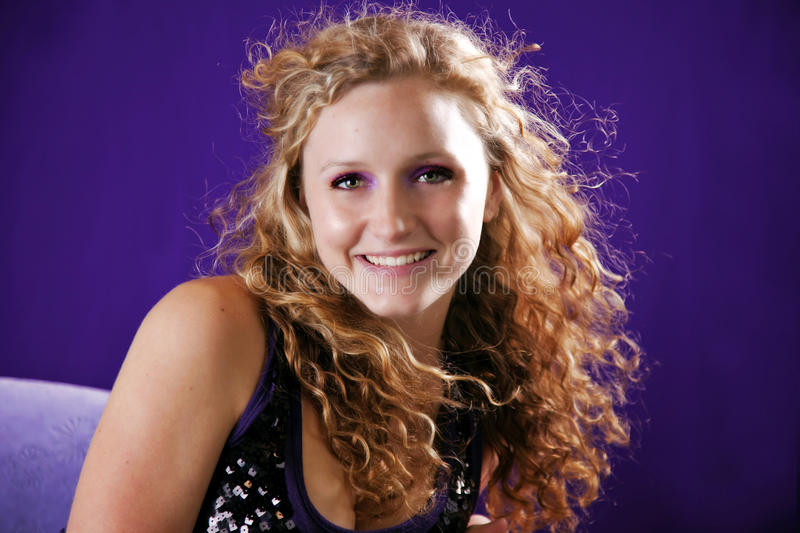 Teen curly hair royalty free stock images