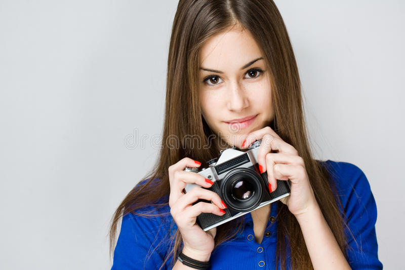 Download Teen Cutie With Vintage Camera. Stock Image - Image: 29439243