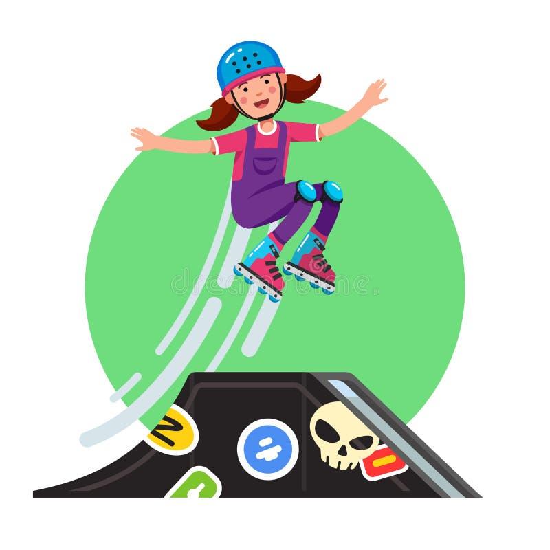 Teen doing stunt jump from ramp on skateboard. Teen doing stunt jump from skate park quarter pipe ramp on skateboard. Extreme sport girl riding board wearing royalty free illustration
