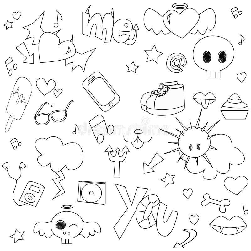 Download Teen doodle stock vector. Image of hearts, vector, phone - 24789418
