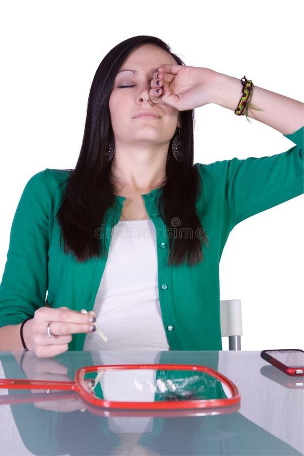 Teen Drug Addiction Problem - Cocaine. Teen Girl Taking Drugs - Teenage Drug Addiction Problem Cocaine stock photos