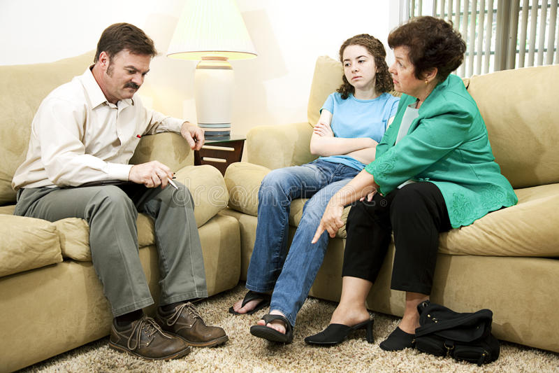 Teen Embarassed by Mother stock photo