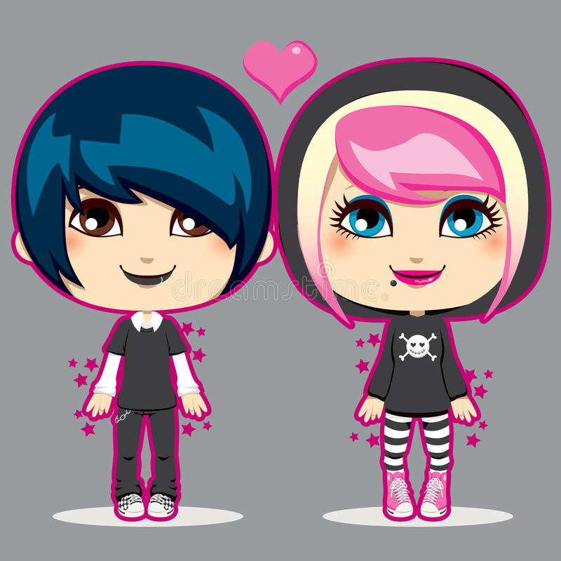 Teen Emo Couple. Happy young teen emo fashion couple smiling vector illustration