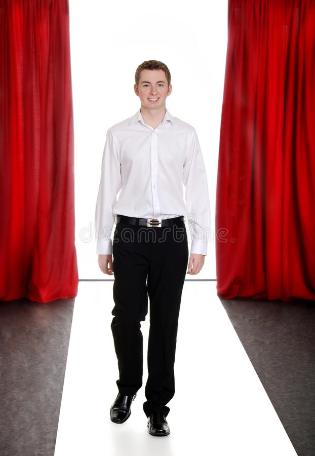 Teen Fashion Boy On The Catwalk Royalty Free Stock Photos