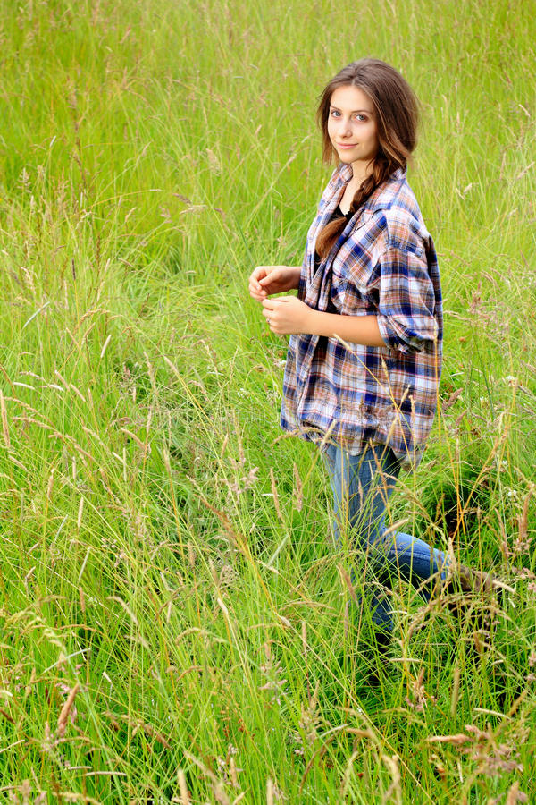 Teen in Field royalty free stock image