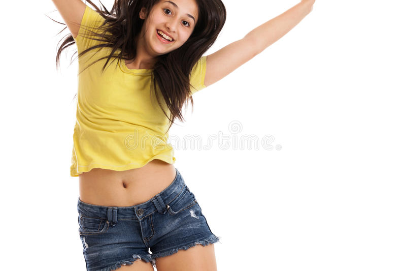 teen flickabanhoppning arkivfoto