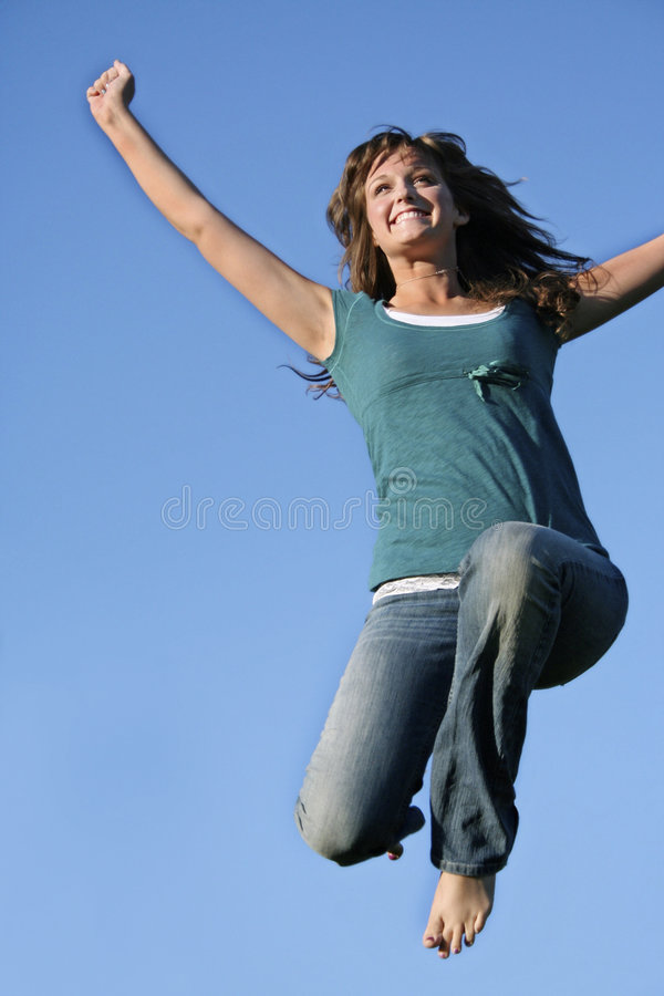 Download Teen Flying High stock photo. Image of victory, girl, leaping - 2745308