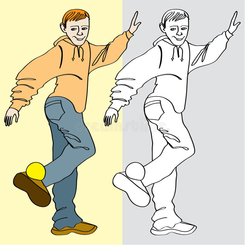 Teen_foot_game. Line-art style illustration / drawing( color and black-white) of a teenager who balanced with small soft ball on foot (footbag game royalty free illustration